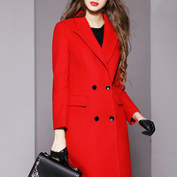 Red Notched Collar Long Sleeve Maxi Woolen Coat