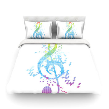 """Frederic Levy-Hadida """"Rainbow Key"""" Multicolor Music Featherweight Duvet Cover"""