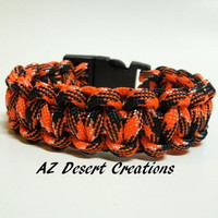 Orange and Black Survival Paracord Bracelet Survival Gear Parachute