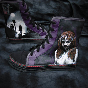 The Exorcist Hand Painted High Top Canvas Shoes