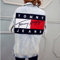 """Tommy Hilfiger"" Women Men Lover Denim Cowboy Cardigan Jacket Coat"