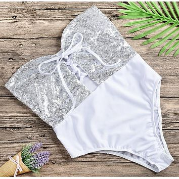 Fashion Summer New Sequin Wading Sports Swimsuit Strapless One Piece Bikini White