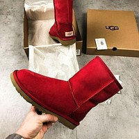 UGG winter tide brand plus velvet warm short tube non-slip wild women's boots snow boots Red