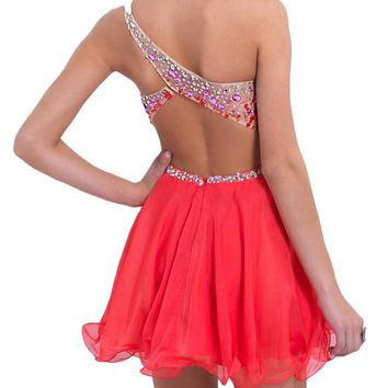 Sexy Club Party Dresses for Women with Empire Waist, Size 14, Coral