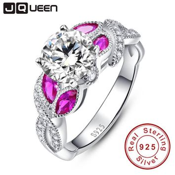 Horse Eye Gem Ruby Ring Infinity Handmade inlaid in 925 Sterling Silver Wedding Rings White CZ Retro Females Royal Jewelry