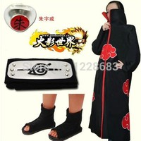 Naruto Cosplay Clothes Costume With Akatsuki Cloak Naruto Shoes And Headbands Accessories Free Shipping