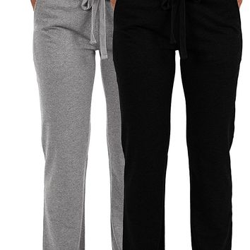 Women's 2 Pack Ultra Soft French Terry Cotton Drawstring Yoga Lounge Long Pants