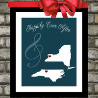 State Map : Custom Engagement Gift - 8x10 / Bridal Shower Present - Two states, love map - Newlywed gift.  You Choose