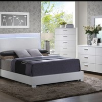 5 pc Lorimar II collection high gloss white finish wood queen bedroom set with LED trim