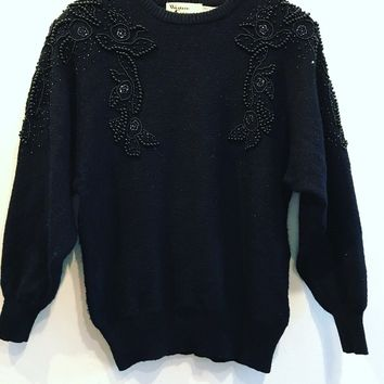 Western Connection Black Beaded Dolman Sweater