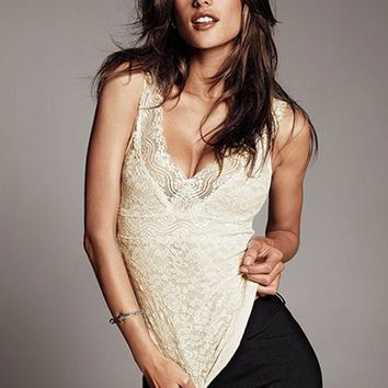 Hot selling sexy lace body shaper women tops sleeveless camisole lace vest