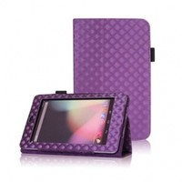 FINTIE Diamond Style Leather Folio Stand Case with Automatic Sleep/Wake Feature for Google Asus Nexus 7-Inch Android Tablet - Purple