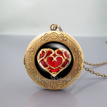life Zelda heart container Photo Locket Necklace,legend of Zelda heart,vintage pendant Locket Necklace