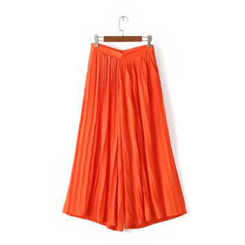 Summer Women's Fashion High Rise Pleated Chiffon Pants [4919990916]