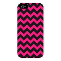 Chic Black and Hot Pink Chevron Pattern iPhone 5 C