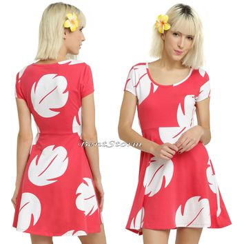 Licensed cool Disney Hawaii Lilo & Stitch Hawaiian Costume Dress Fit & Flare Red/White Leaves