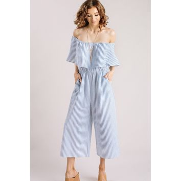 Emerie Striped Off the Shoulder Jumpsuit
