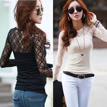 New Women's Long Sleeve T-shirt Sheer Lace Shirts Trim Sexy Slim Casual Bottoming Blouse Tops Roupas Femininas M-XXL  SV007503|26601 = 1745381316