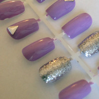 Purple Glitter Nails with Small Triangle, Fake, False