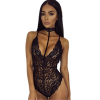 Sexy Dress Underwear Swimsuit Lace Corset Hollow Out Transparent Micro Halter Neck Leotard