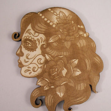 Skull Girl Cutout, Laser Cutouts, Unfinished Wood, Dia de los Muertos, Calavera, Day of the Dead, Woodcrafting Pieces, Wood Ornaments