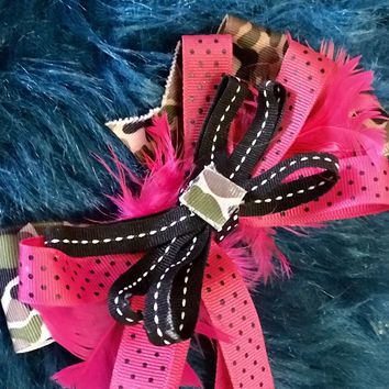 Adorable Hot Pink & Black Camo Hair Bow