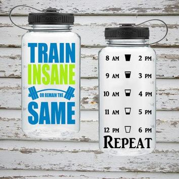 Train Insane Or Remain The Same 34oz Water Intake Tracker. Gym Water Bottle. Personalized Water Bottle. Hourly Reminders. Healthy.