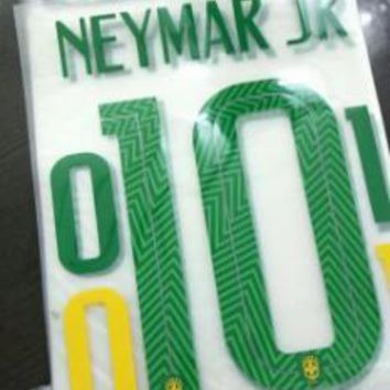 2018 Brasil home away NEYMAR JR OSCAR PAULINHO G.JESUS COUTINHO DAVID LUIZ  name numbering nameset soccer patch soccer badge