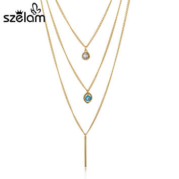 Evil Eye Multilayer Necklaces & Pendants Gold Chain Chocker Necklaces For Women 2016 Bohemian Jewelry