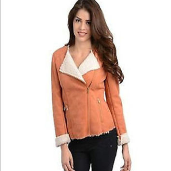Women Fashion Collarless Burnt Orange Shearling Bomber Jacket Sweater Vest Casual Urban Style