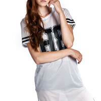 """H8"" No Hate White Athletic Mesh Dress with Rounded Hem"