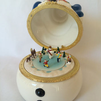 Hinged Snowman Music Box with Ice Skaters, Vintage Snowman Music Box, Holiday Ice Skaters Music Box, Holiday Home Decor
