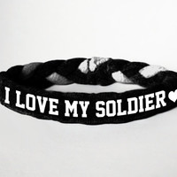 I Love My Soldier, Personalized Military Support Bracelet - Army, Air Force, Navy, Wife, Girlfriend, Fiance (women, teen girl)