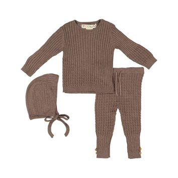 Teela Toffee Cable Knit 3 Piece Baby Set