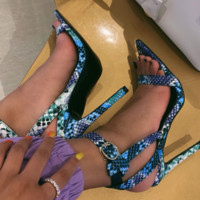 Hot style colorful sandals with pointed narrow heels