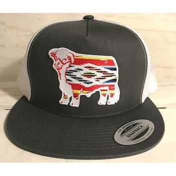"""Lazy J Grey and White Serape Hereford Patch Cap (4"""")"""