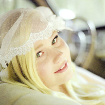 Dotted Point d'Esprit Chantilly Lace Bridal Cap Veil with Attached Flowers