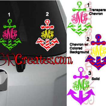 Monogram Anchor Decal, Personalized, Chevron - Glitter or Regular Vinyl