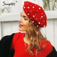 Simple Winter elegant wool pearl beret women Solid 2017 autumn flat cap christmas hat fashion girl streetwear red beret female