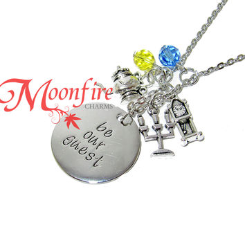BEAUTY AND THE BEAST Be Our Guest Pendant Necklace