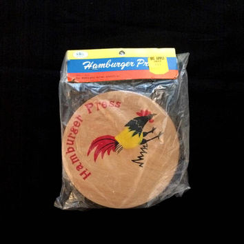 Hamburger Press - Grilling - Outdoor Cooking - BBQ Accessories - Food Preparation - Burgers - Cooking Gadgets - 1970's - WBS Wooden Press
