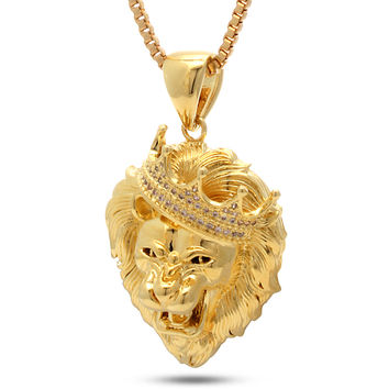 14K Gold Roaring Lion CZ Necklace
