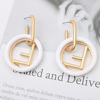 FENDI Classic Fashion Women Exaggerated Circular F Letter Earrings Accessories Jewelry White