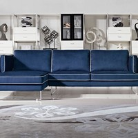 Divani Casa Anchusa Modern Blue Fabric Sectional Sofa