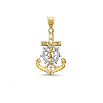 14k Two Tone solid gold Mariners Cross, Crucifix, Anchor Pendant