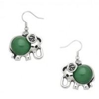 Aventurine Stone Elephant Earrings - Endless Xpressions