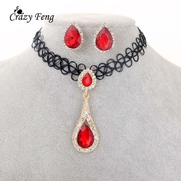 Crazy Feng Big Sales Zirconia Water Drop Pendient Chokers Necklace Earrings Set Fashion Red Indian Wedding Jewelry Sets