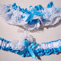 Bridal Lace Garter set, white beaded lace with Island blue ribbon garter set