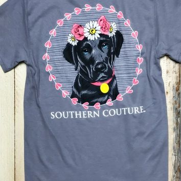 Our ''Classic Flower Black Lab'' Tee is cute as a button! We are lovin' this look for our dog lovers! True to size.