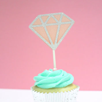 Silver & Pink Diamond Cupcake Toppers - For Party, Celebration, Bachelorette, Wedding, Birthday, Baby Shower, Gold Theme Birthday(Set of 12)